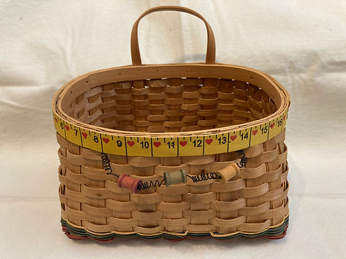 Woven Basket with Sewing Design
