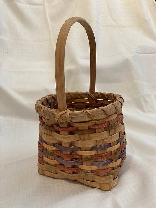 Small Woven Basket - Red and Blue Detail