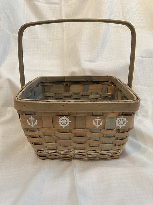 Woven Basket with Nautical Design