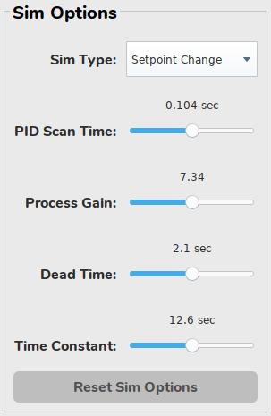 pidbot Tuning Dashboard - Simulation Options