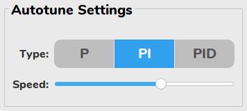 pidbot Tuning Dashboard - Autotune Settings Panel
