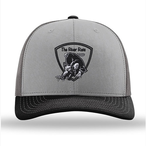 The River Rats Embroidered Gray/Charcoal/Black Snapback Truckers Hat