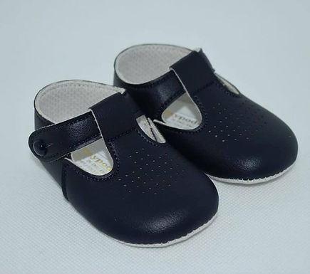 Navy soft sole pram shoe