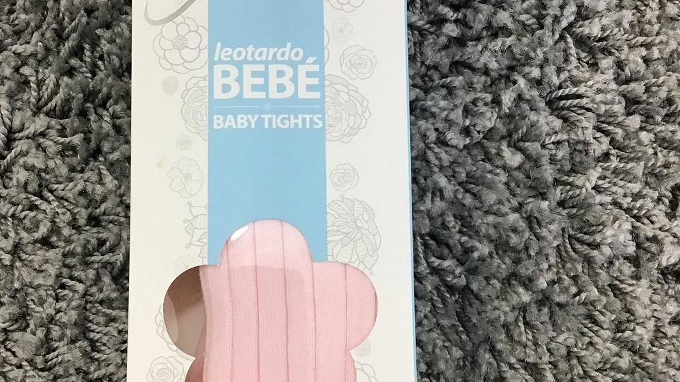 Pale pink ribbed anti pressure tights