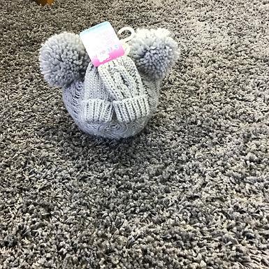 Grey knitted double Pom Pom hat & mitten set