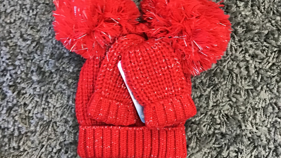 Red knitted double Pom Pom hat & mitten set