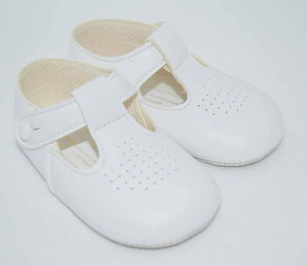 Plain white soft sole pram shoe