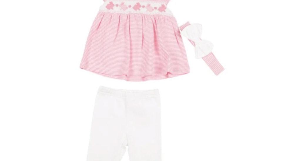 Girls pink dress, legging & headband set
