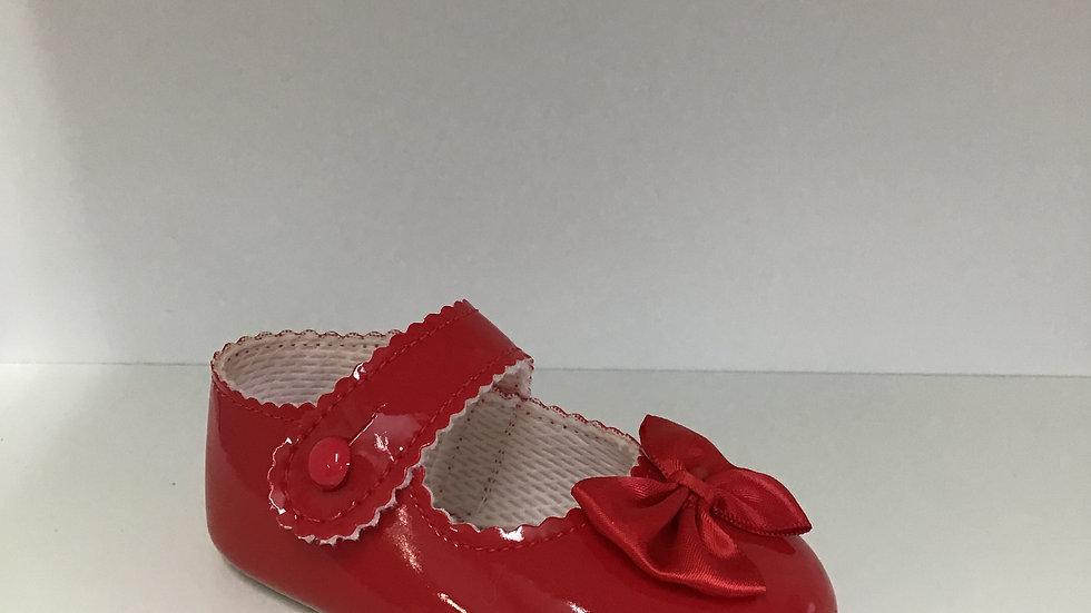 Red pram soft sole shoe