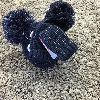 Navy double Pom Pom hat & mitten set