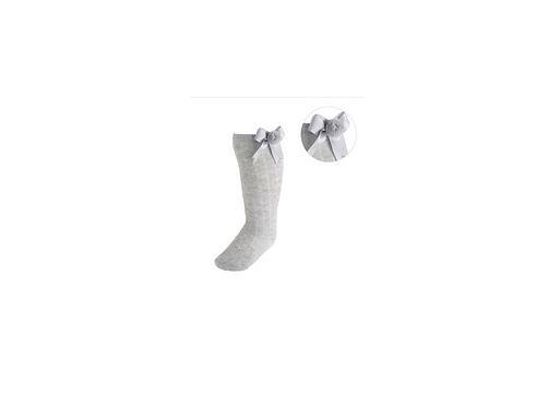 Grey Pom/bow knee high sock