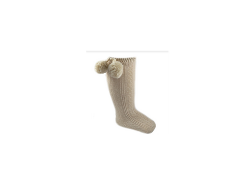 Beige knee high Pom Pom sock