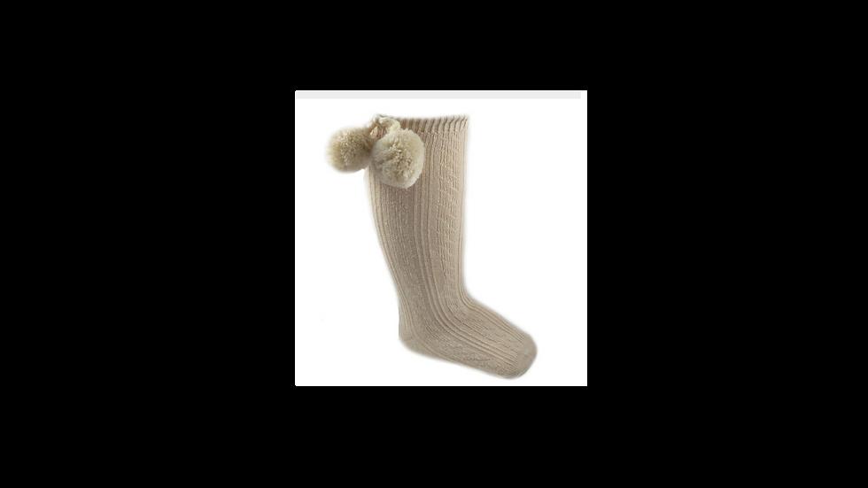 Beige knee high Pom Pom sock