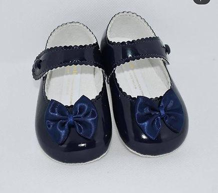Navy soft sole pram shoes