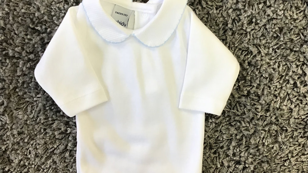 Babidu cotton vest with blue trim