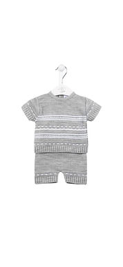 Boys grey pointelle knitted set