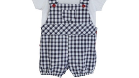 Checked dungaree & T-shirt