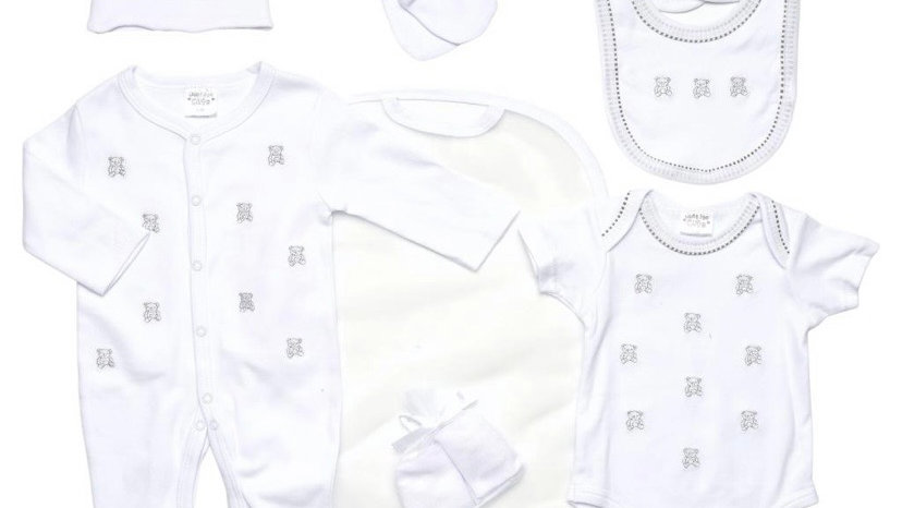 Embroidered Bear 7 piece Layette set