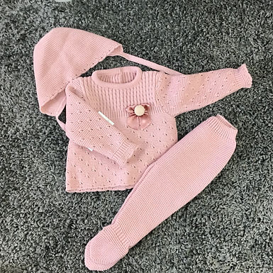 Spanish bow/Pom knit3 piece set