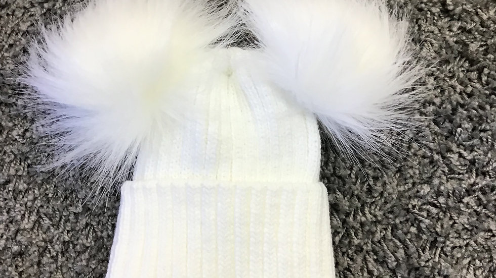 Faux fur double Pom Pom hat