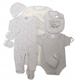 7 Piece welcome to the world Layette Set