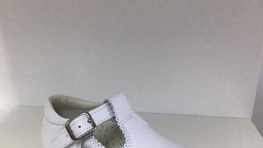 White T-bar shoes