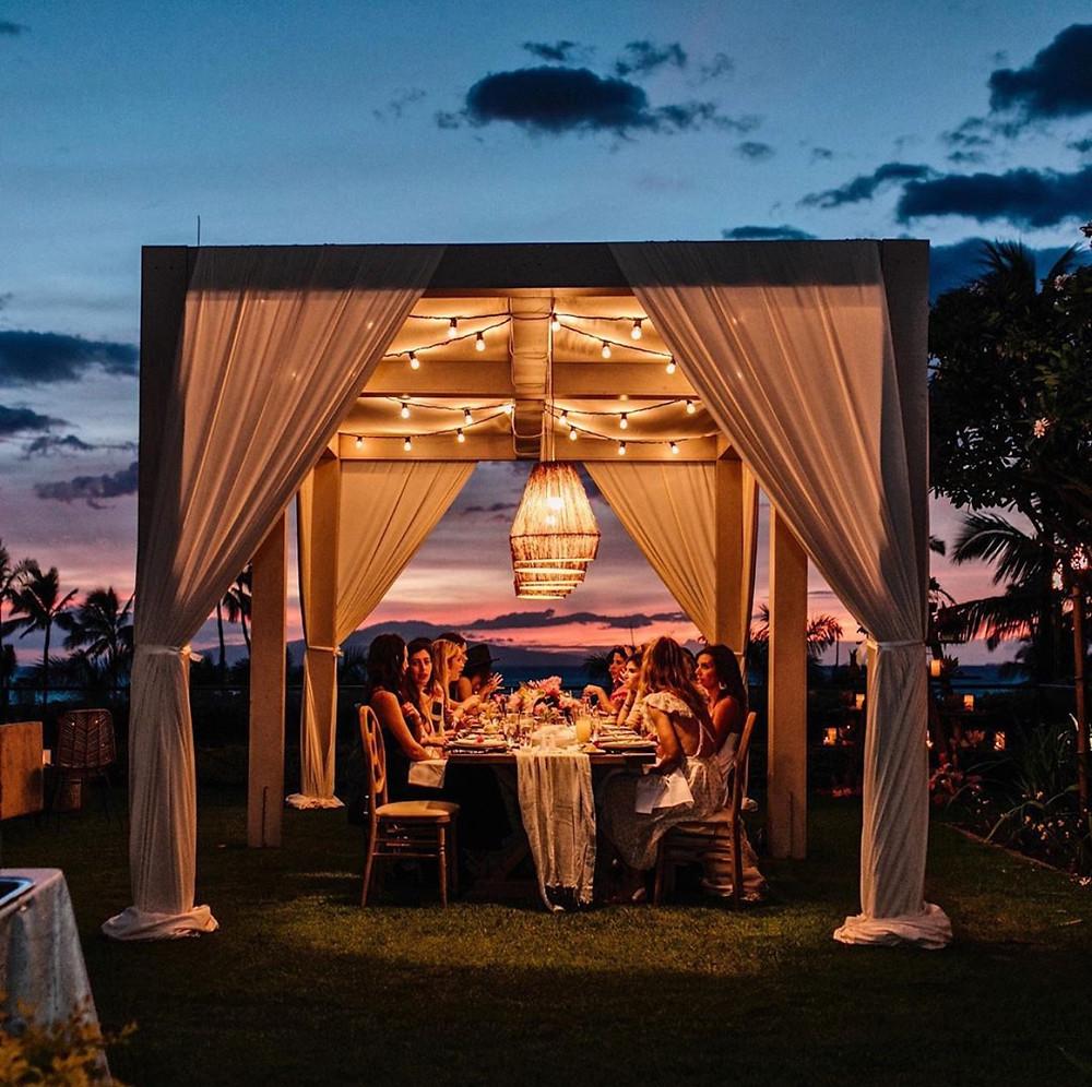 Custom dining canopy with lighting at Four Seasons Maui | HEYMAMA Co