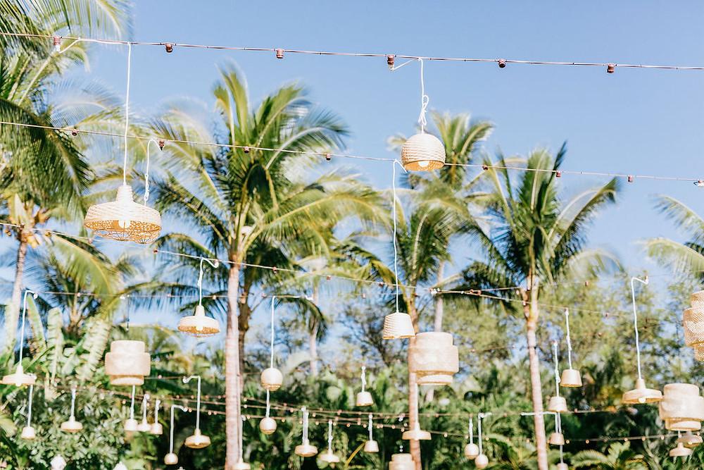 Tropical Luau at Four Seasons Resorts Lanai with Hanging Rattan Pendant Lights