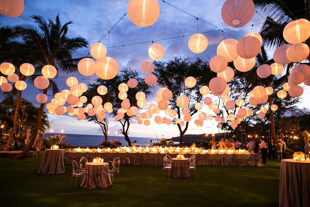 Hanging White Lanterns Wedding Reception at Four Seasons Resorts Lanai