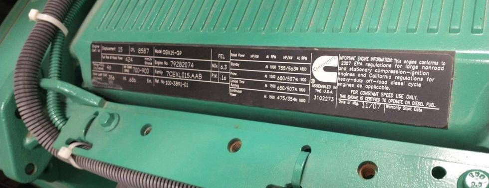 For Sale 500kw Cummins Diesel Generator