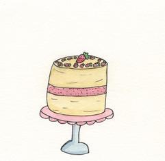 Watercolor strawberry cake