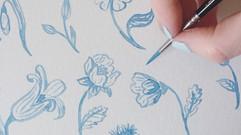 Watercolor flower studies