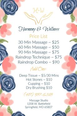 Harmony & Wellness Massage Studio Flyer