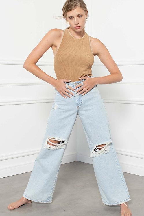 Jeans Wide Leg Destroyed