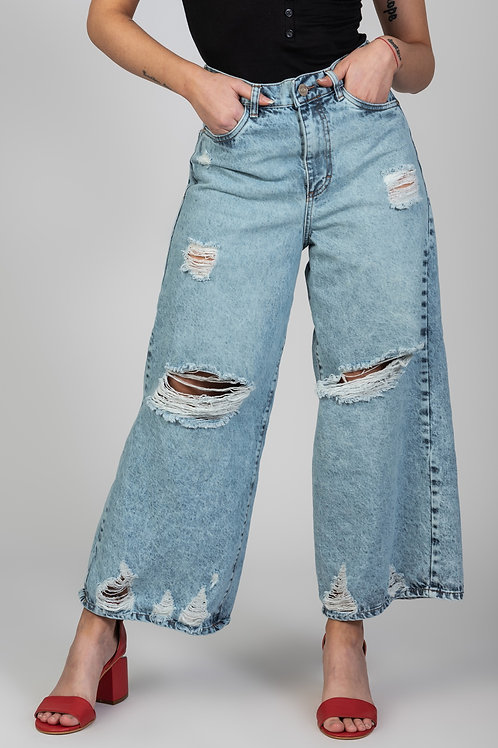Jeans Culotte Acid Wash