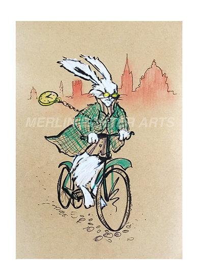 White Rabbit Oxford time. Giclee Print.
