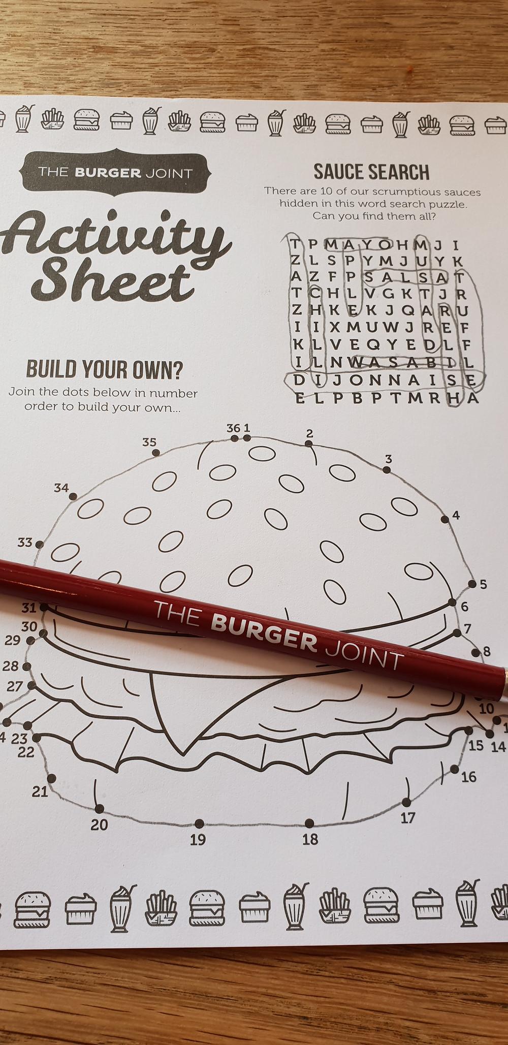 The Burger Joint Activity Sheet
