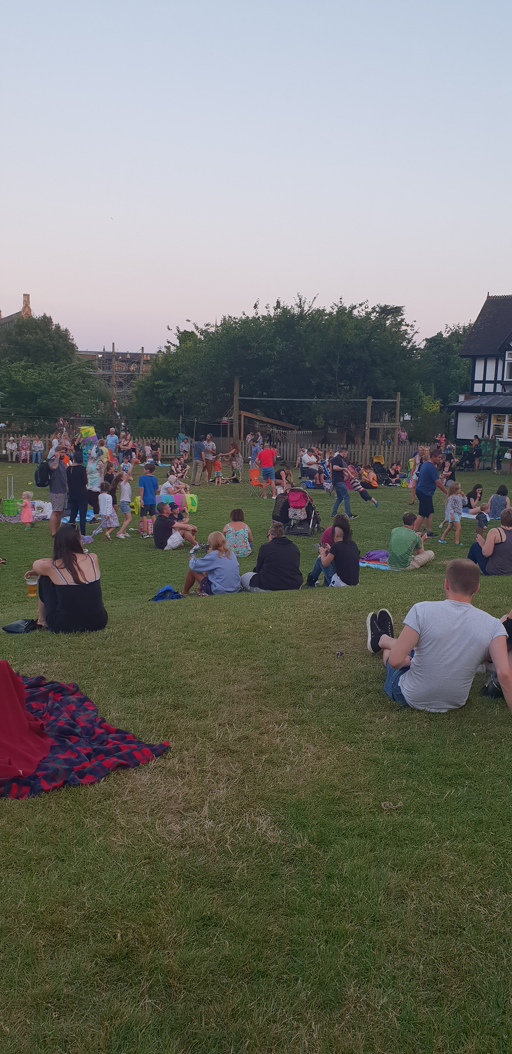 People sitting on the lawn