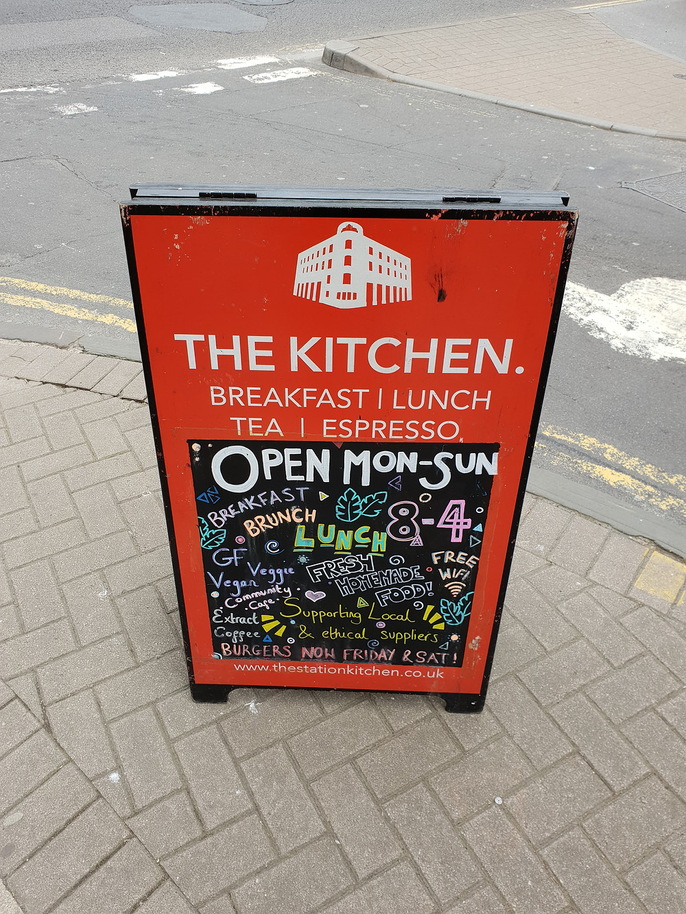 Pavement sign outside The Kitchen