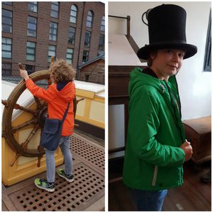 Children playing on the ship