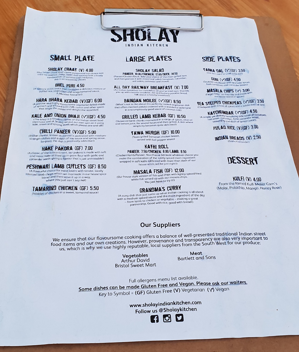 Sholay Kitchen menu