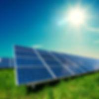 Solar panel on blue sky background. Gree