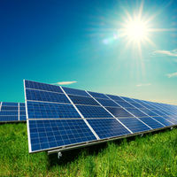 Solar panel on blue sky background. Gree