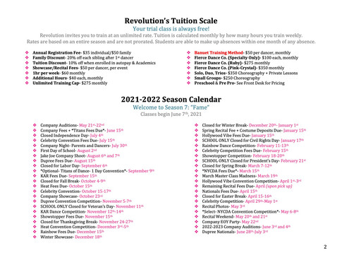 21-22 Season Tuition and Calendar