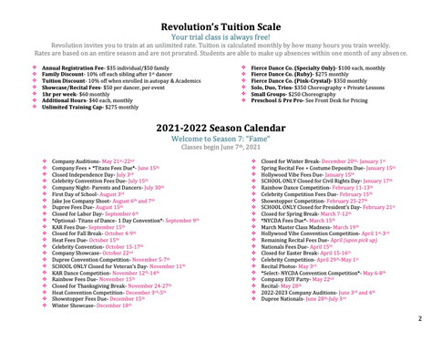 RDA Schedule Tuition and Calendar 2021-2022