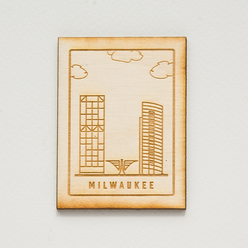 Milwaukee Cityscape Wood Magnet by The Middle Shore