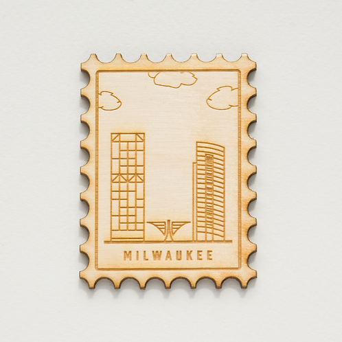 Milwaukee Cityscape Stamp Wood Magnet by The Middle Shore