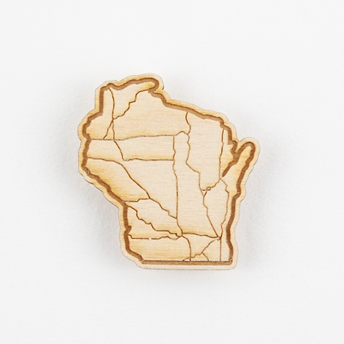 WISCONSIN STATE SHAPE MAGNET - INTERSTATE MAP