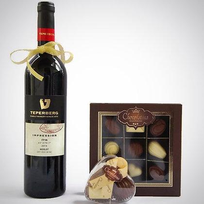 Elegant Red Wine +12  praline chocolates Mishloach Manot
