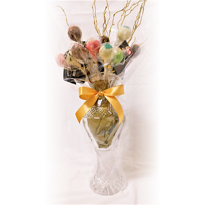 Crystal vase filled with Chocolate pralines